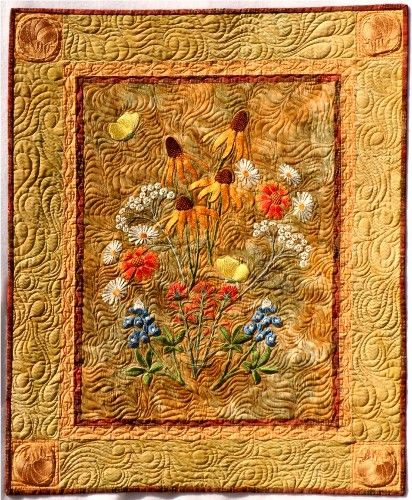 Embroidered Texas Wildflowers Quilt Machine Embroidery