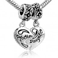 This Heart Mother & Daughter Beads Charm- Pandora Charms Bracelet Compatible Bead is compatible with Pandora bracelets, and interchangeable with Pandora charms / beads! Made of pewter plated with...