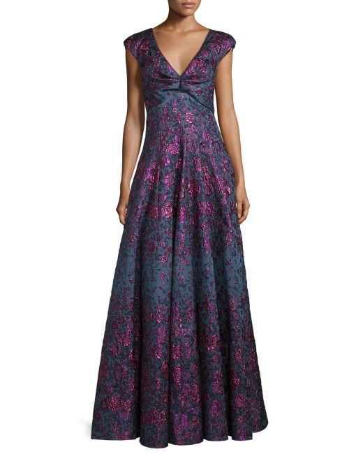 Talbot Runhof   Purple Holda Cap-sleeve Degrade Brocade Gown   Lyst