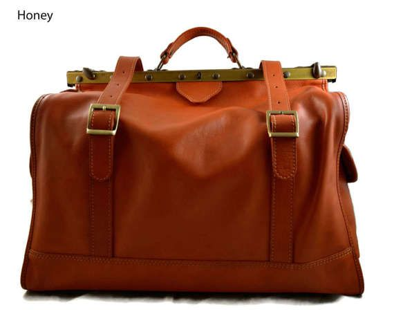 Leather doctor bag mens travel bag womens cabin luggage bag