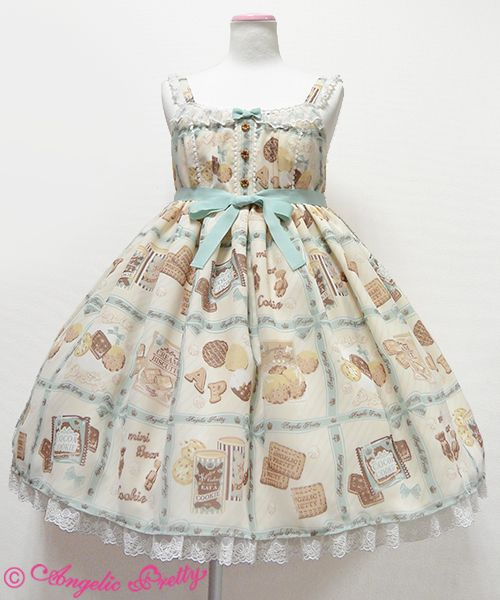 Angelic Pretty's Cream Cookie Collection High Waist JSK in Ivory