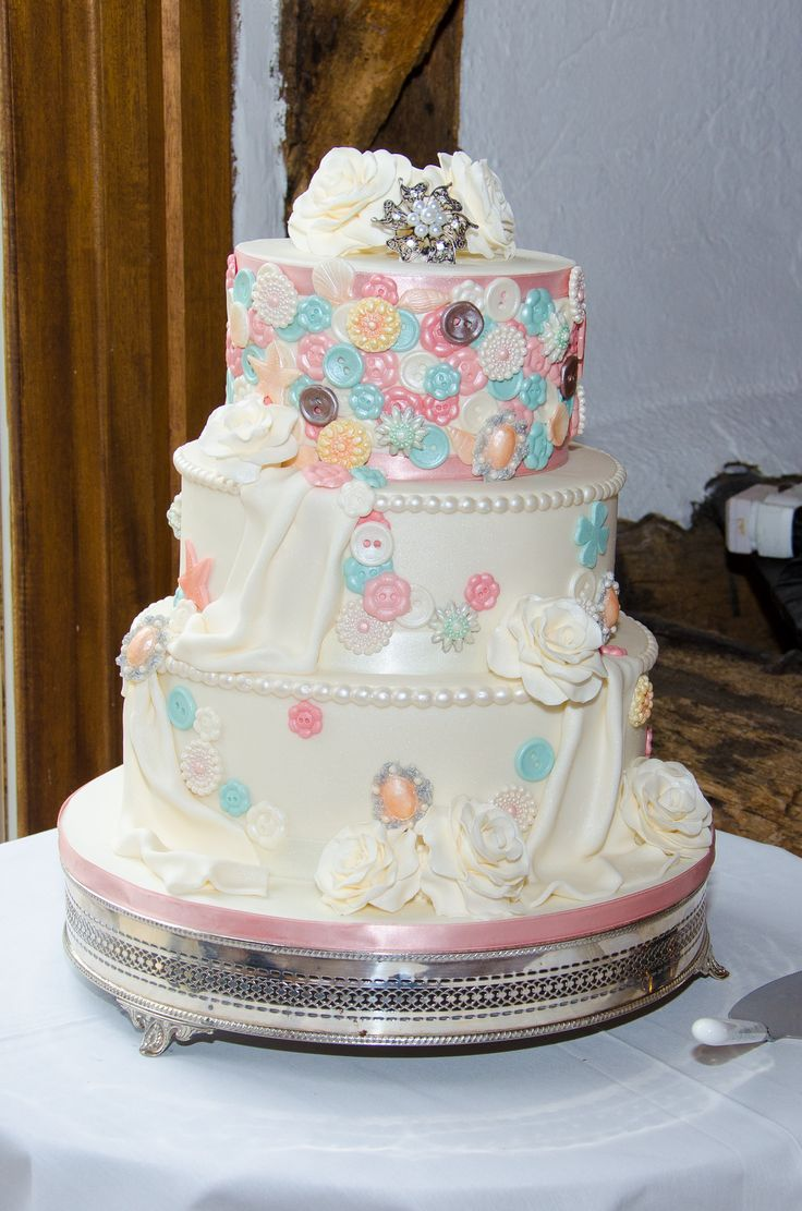 Button wedding cake. Taken at Smeetham Hall Barn wedding venue Suffolk