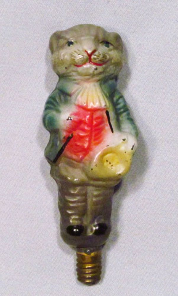 vintage germany blown painted glass gray gentleman cat christmas tree light bulb - Christmas Tree Light Bulb