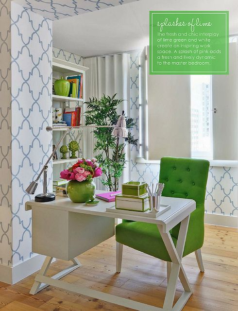 Lovely lime Green and Pink office space - Home Office by decorology