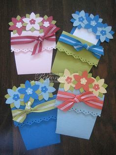 KeepStamping: Flower pot cards - Instructions for these are on Splitcoaststampers. She used textured card stock and an eyelet border punch along the pot edge. The flowers were punched out the the SU Five-petal flower punch. The centers were made with the Trio Flower punch.