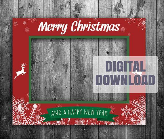 Printable Christmas Photo Booth Frame Digital Download Giant Xmas Prop Selfie