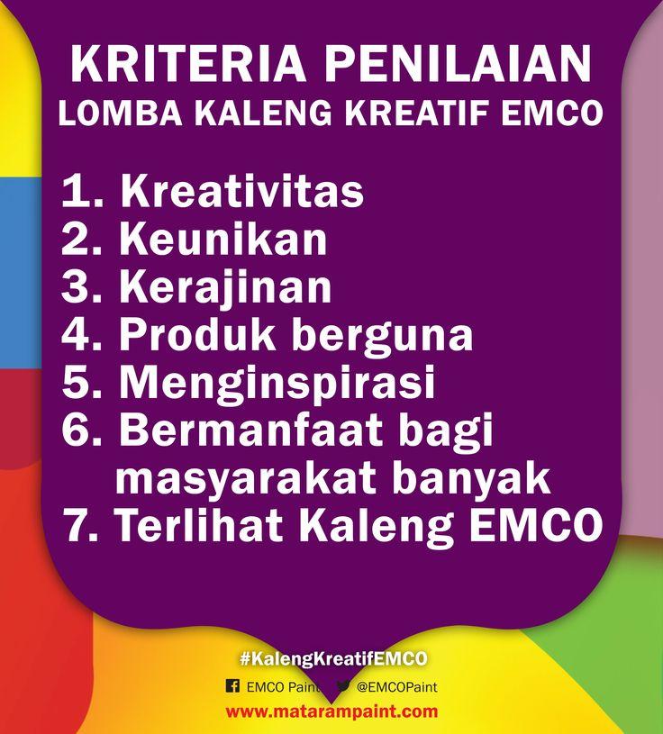 Hai Kawan EMCO, sudah tidak sabar menunggu pengumuman pemenang lomba #KalengKreatifEMCO?   Kreasi kaleng EMCO dari Kawan, semuanya bagus, dan kami jadi bingung memilihnya  Berikut adalah 7 kriteria penilaian untuk memilih pemenang. 1. Kreativitas 2. Keunikan 3. Kerajinan 4. Produk berguna 5. Menginspirasi orang lain 6. Bermanfaat bagi masyarakat banyak  7. Memperlihatkan Kaleng EMCO  Apakah karyamu termasuk dalam 7 kriteria tersebut? Kalau iya berarti kamu pemenangnya   Ditunggu ya...