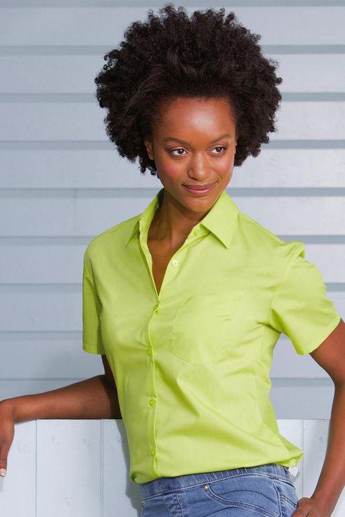 Cămaşă damă cu mâneca scurtă Poplin Russell Collection din 65% poliester şi 35% bumbac, se calcă uşor, uşor de întreţinut #camasi #personalizate #dama #femei #brodate