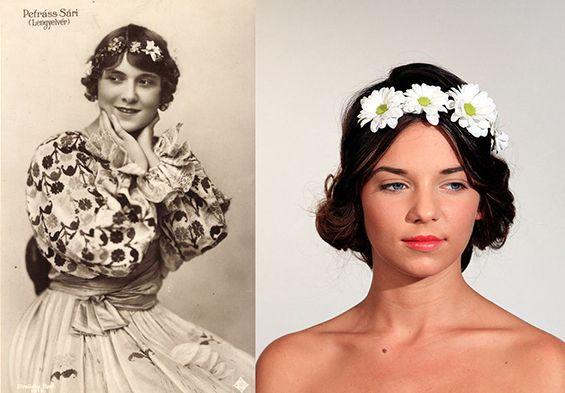 100 years of beauty Hungary: 1910s - Sári Petráss and the modell Ivett Szigligeti  #100yearsofbeauty #100years #hair #hairstyle #makeup #hungary #fashion #style #Petrasssari #saripetrass #ivettszigligeti