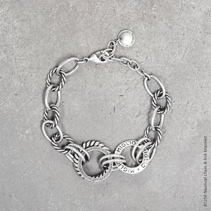 #miglio B1256 Nautical chain and link bracelet in burnished silver