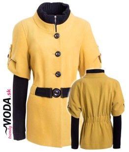 Trendový čierno-žltý kabát pre moletky so zapínaním na zips. - trendymoda.sk