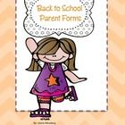 FREE  colorful back to school parent forms.  This packet includes: *Parent Permission for pictures to be posted on blog or website. *First week get...