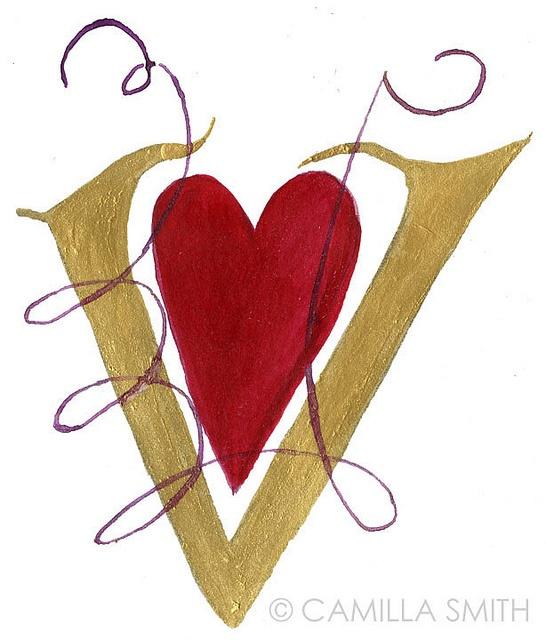 Hand Lettering Alphabet V By Artwork Camilla Smith Via Flickr