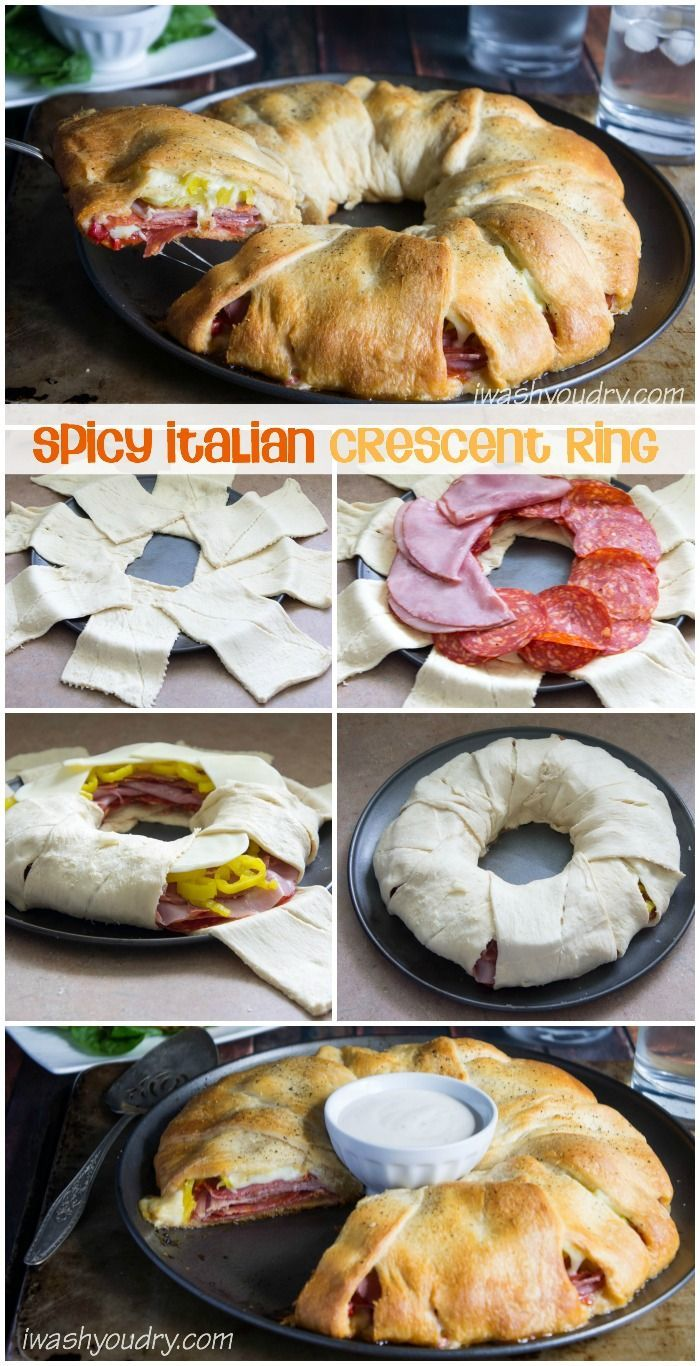 Spicy Italian Crescent Ring Sandwich! - My favorite sandwich from Subway was my inspiration here (the Spicy Italian), and it came out beautifully! This sandwich ring would be perfect for parties, or even just weeknight dinners at home.