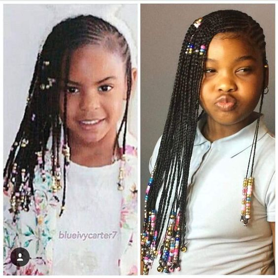 Beyoncé Knowles daughter Blue Ivy Carter Lemonade Braids Long cornrows braids on thick type 4 natural hair hairstyles for little girls black biracial mixed kids braids and beads African Tribal Fulani Alicia Keys inspired braids