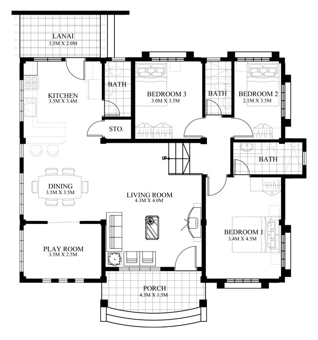 Small house design 2014007 belongs to single story house for Modern 3 bedroom house plans and designs