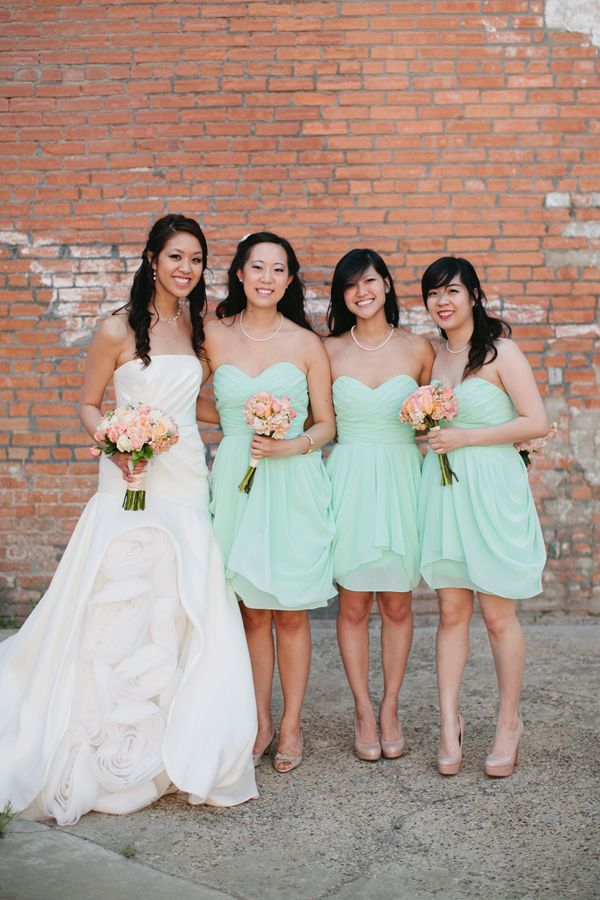 Cute bridesmaid color, still has a nice contrast next to the white, but light and cheery for spring or summer.