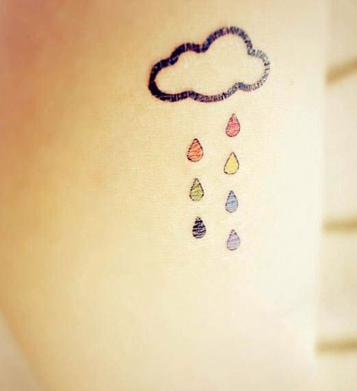 InknArt Temporary Tattoo 2pcs Rain Cloud colored wrist by InknArt