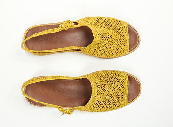 Cléopâtre - Sandale Jaune - Sandales en raphia