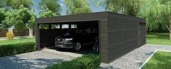 Garasje med flatt tak