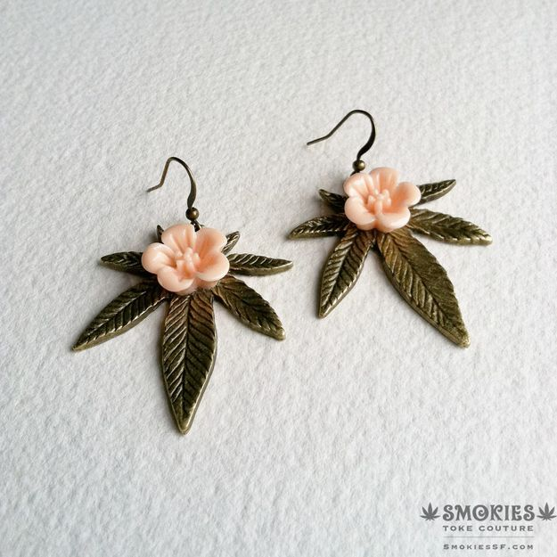 Cannabis Earrings with peach flowers | Community Post: 17 Gifts For Your Stoner Friend