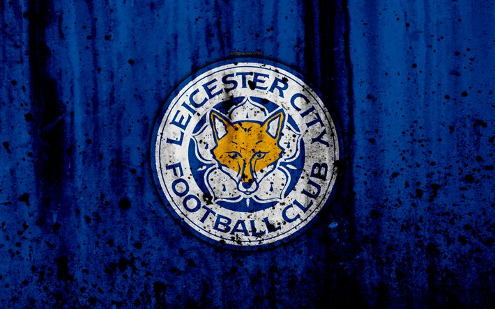 Download wallpapers FC Leicester City, 4k, Premier League, logo, England, soccer, football club, grunge, Leicester City, art, stone texture, Leicester City FC