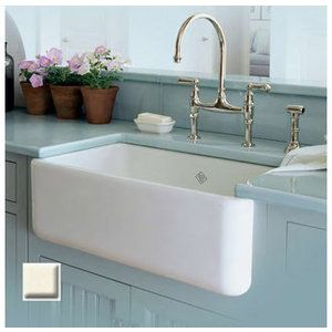 rohl rc3018 30 handcrafted single basin fireclay apron front farmhouse kitchen sink from the shaws original series - French Kitchen Sinks