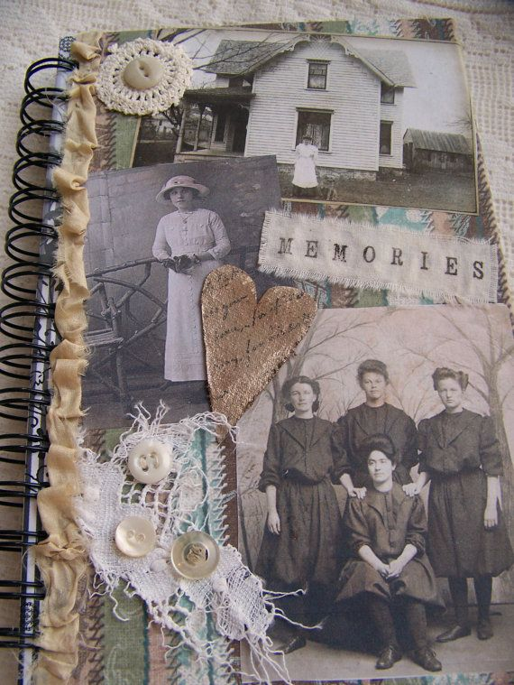 Handmade Altered Collage Blank Journal Vintage Collage book