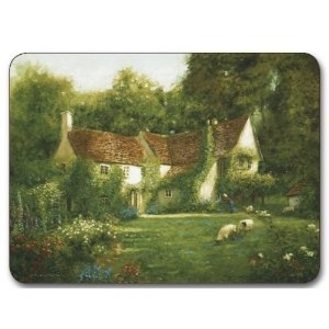 "SET OF 6 MIXED ENGLISH COTTAGE GARDENS CORK BACKED PLACEMATS 11"" 8.5"" from Amazon.com"