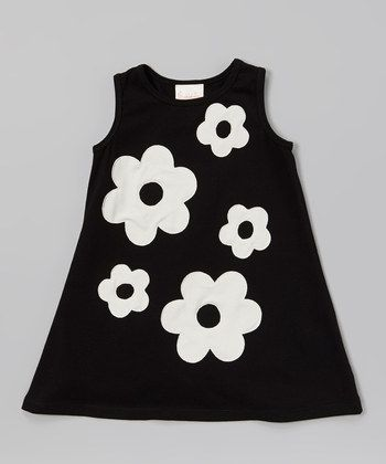 would look good in a black and white quilt/Black & Ivory Audrey Swing Dress - Toddler & Girls