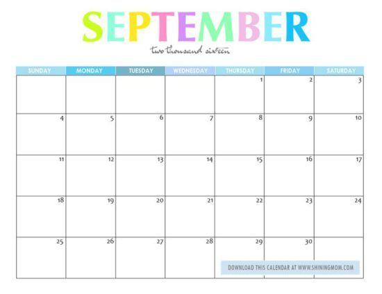 Cute September 2016 Calendar
