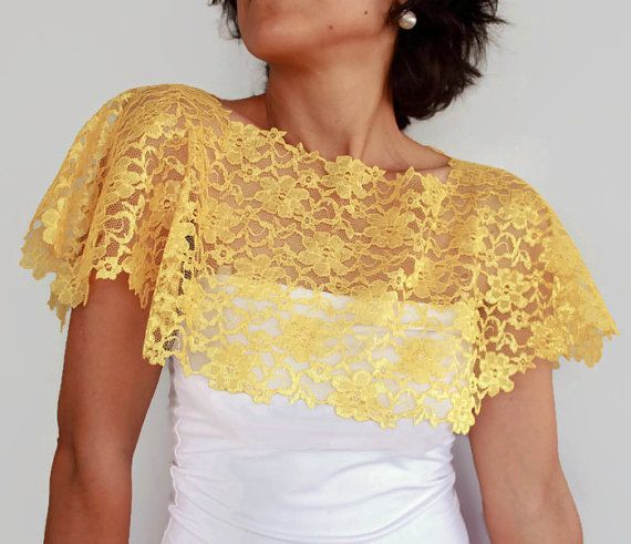 Yellow Lace Shrug Capelet Dark Navy Blue Bridal by mammamiaeme, $33.00
