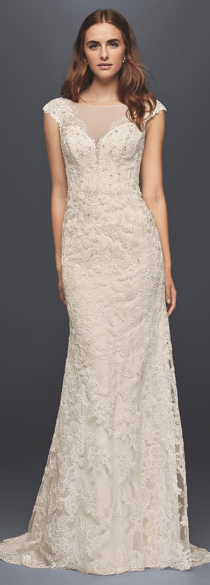 Illusion Lace Sheath Wedding Dress | David's Bridal Spring 2017 | #davidsbridal #ad
