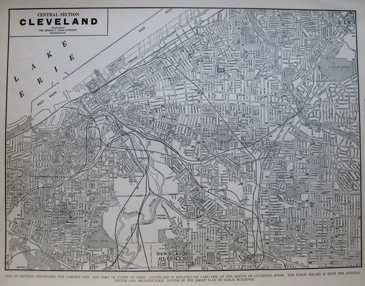 1941 Vintage CLEVELAND MAP of Cleveland Ohio Black & White Gallery Wall Art 3219