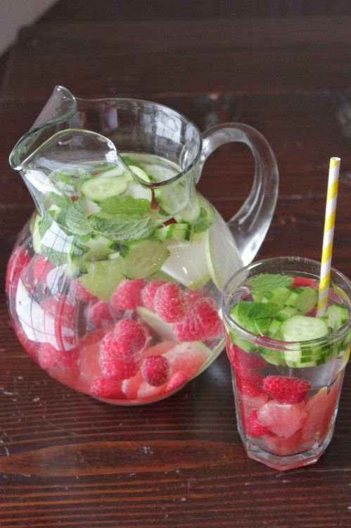 pitcher of spring water and a few raspberries along with sliced grapefruit, cucumbers, and pears and a sprig of fresh mint. You can also add lemons, limes, blueberries and cranberries if you want. Just add all of the ingredients into the pitcher and allow it to sit for a couple of hours so that the flavors combine. Make a new pitcher every day to keep it fresh. This one will boost your metabolism, help you to burn fat, and flush out all those nasty toxins that make you feel sluggish.