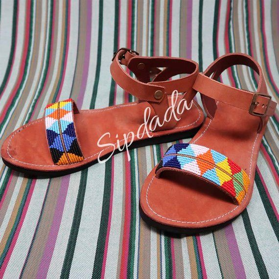 Multicolored sandals Maasai sandals