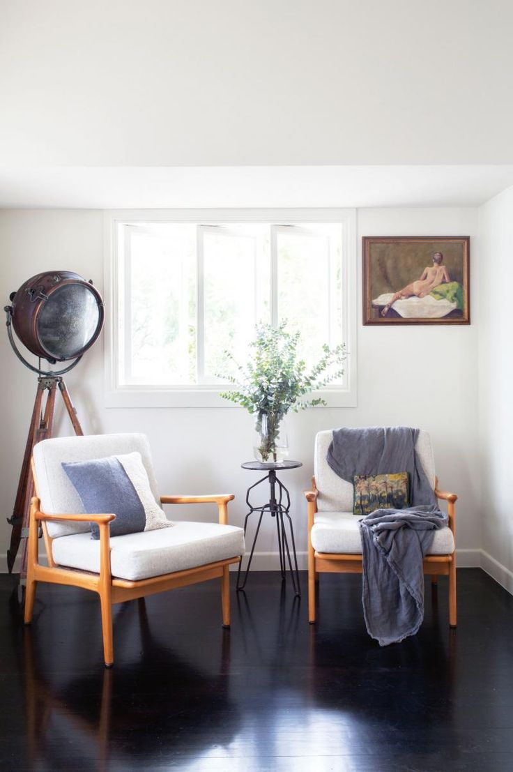 white arm chairs vintage industrial floor lamp living room Kaytar home Feb15