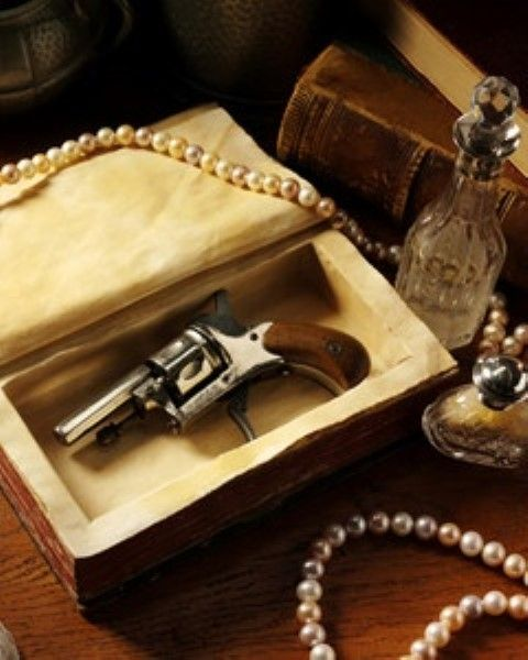 Gun in the book. Classy. Perfect for portraying a suspect wespon