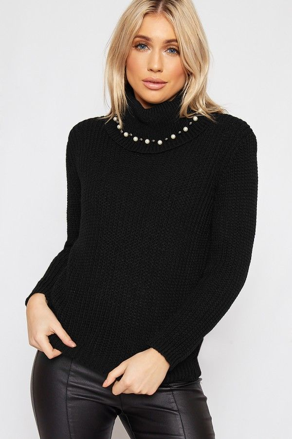 Grace Pearl Embellished Cable Knitted Polo Jumper | WearAll