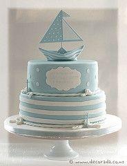 navy anchor buttercream cake | Nautical Christening Cake (Decorada) Tags: cake boat christening ...