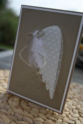 ..wings from Stampin' Up! Elegant Bird Die...inside is the Angel from Rejoicing With You Stamp set.  Both SU! items are from the Stampin' Up! 2012-13 Idea Book and Catalog