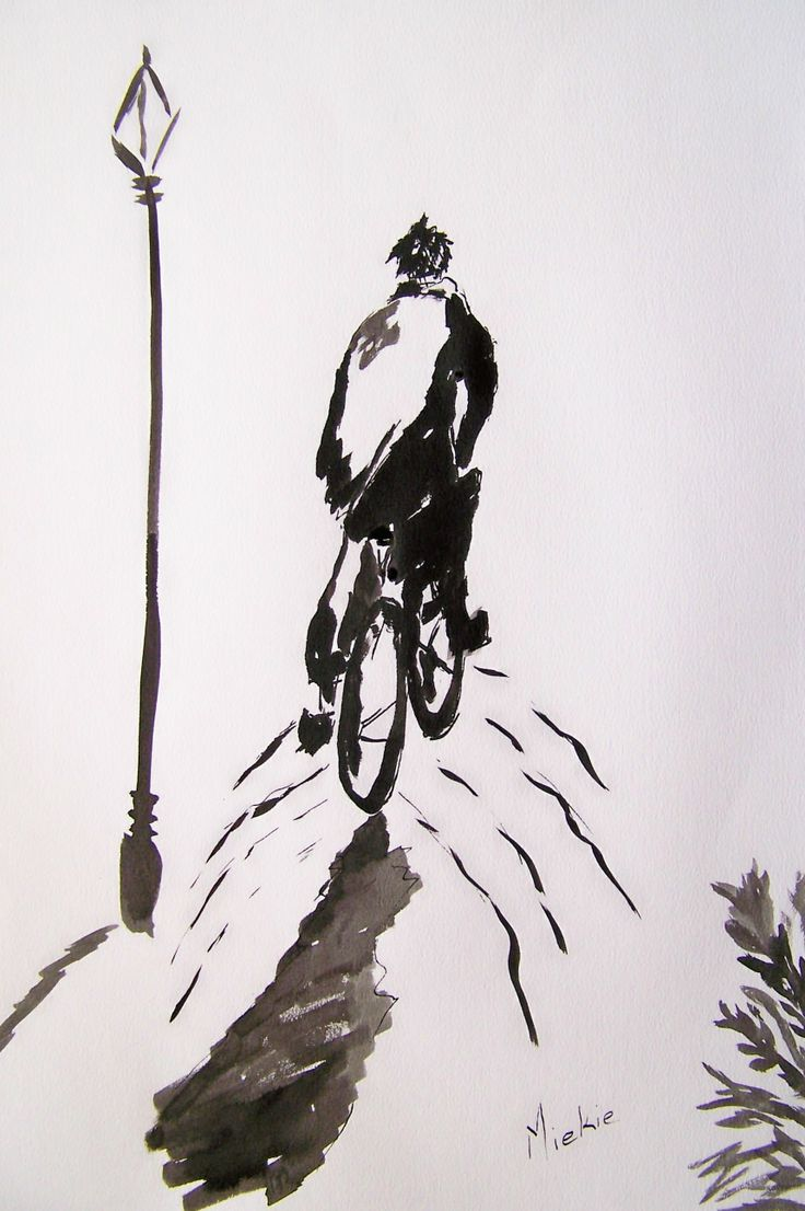 Ink on Bockingford paper.  A2 size.  This painting was inspired by Jover.  Doesn't it feel like you are being pulled along with this cyclist to explore his unfamiliar path?  R600 unframed.  R1200 framed.
