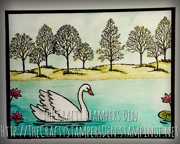 Stampin' Up! Swan Lake and Lovely as a Tree create a beautiful scene together.  Use with any sentiment. To purchase stamps visit http://TheCraftyStampersDen.stampinup.net.  #SwanLake is available starting 1/4/17.