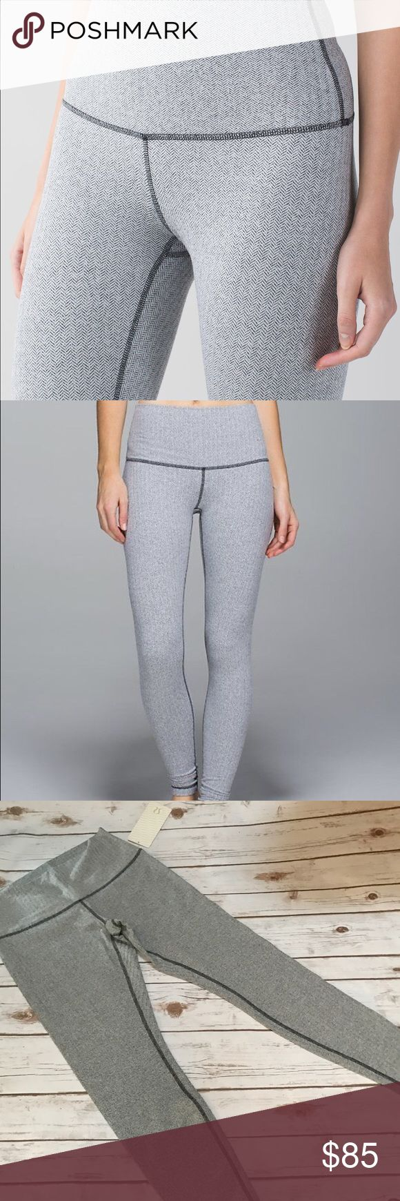 Lululemon Wunder Under Pant Roll Down size 12 Color is heathered herringbone. NWT. size 12. Color is accurate in stock photos lululemon athletica Pants Leggings
