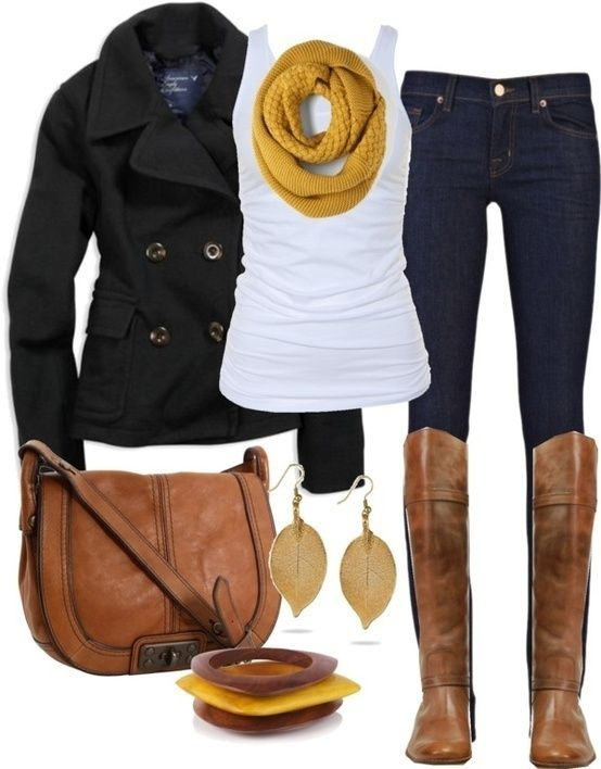 My Version: Black Coat, White Tank Top or T-Shirt, Yellow Knit Scarf, Jeans or Jeggings, Brown Knee High Boots.