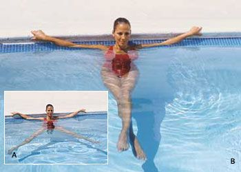 Sit on edge of pool with legs straight down. (Water should come to about midthigh.) Lean back slightly, with hands behind body for support.