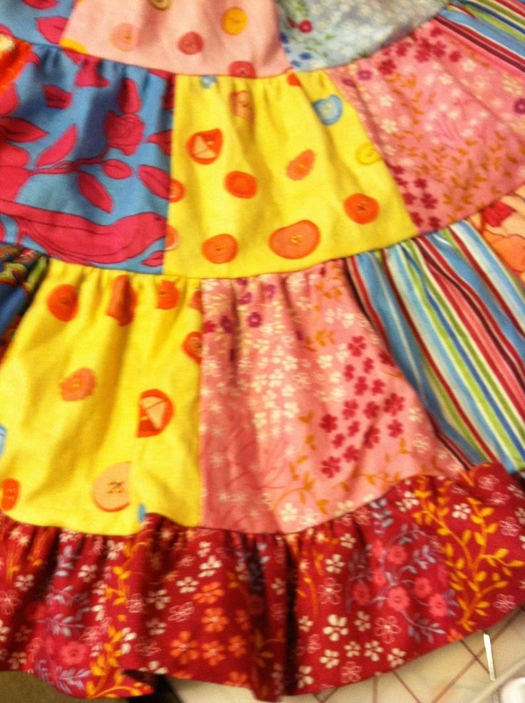 3 tier patchwork dress detail