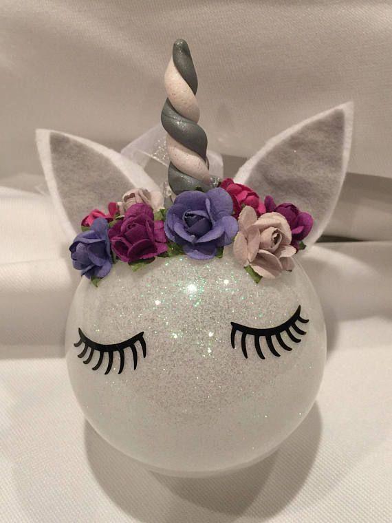 Unicorn Glass Ornament /Personalized