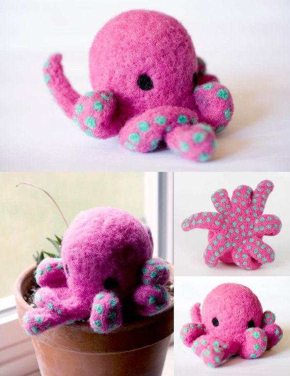 Needle Felted Octopus Figurine