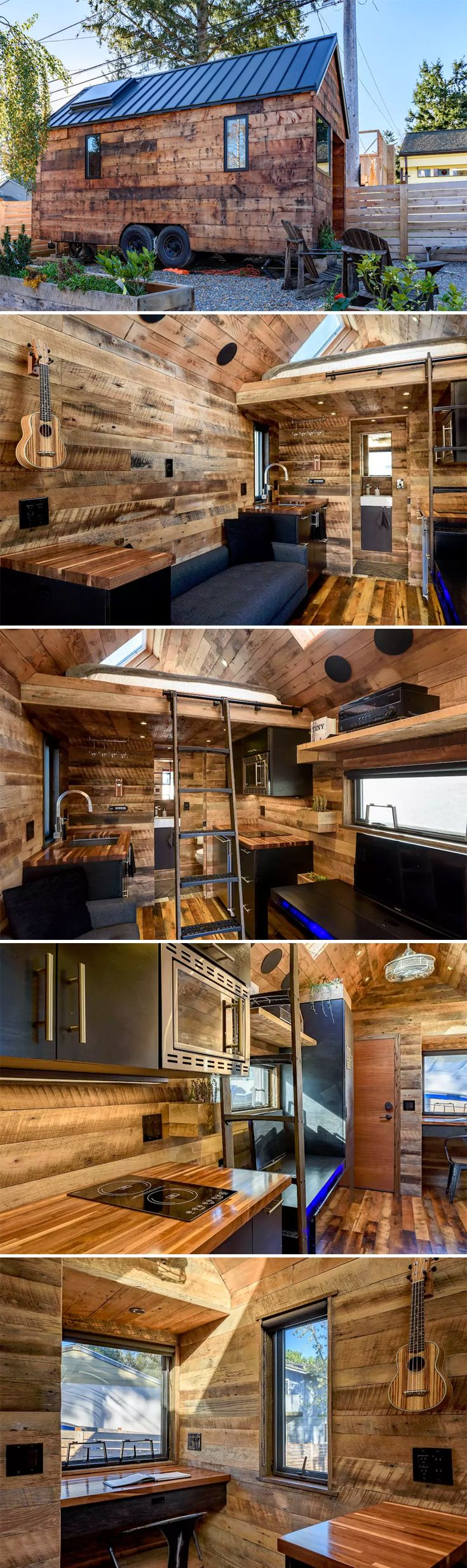 Designed and built by Chad Kuntz, Tipsy the Tiny House is a 180 sq.ft. tiny house on wheels available for nightly rental through Airbnb in West Seattle.